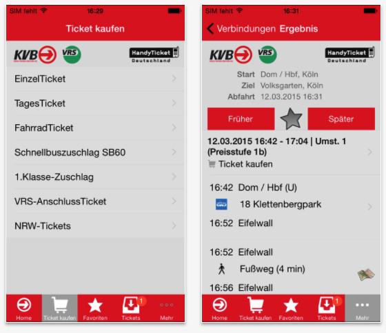 KVB app voor keulen